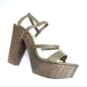 Zara Woman Wooden Platform Sandals Khaki Olive 39